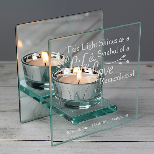 Personalised Life & Love Mirrored Glass Tea Light Candle Holder (PMC)