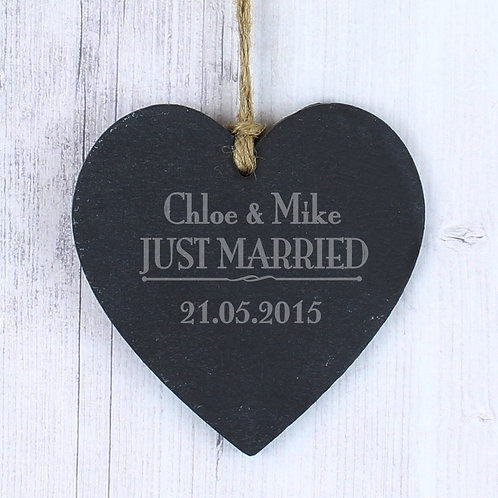 Personalised Just Married... Slate Heart Decoration (PMC)