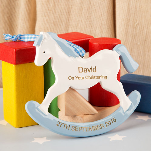 Boys Christening Rocking Horse Ornament