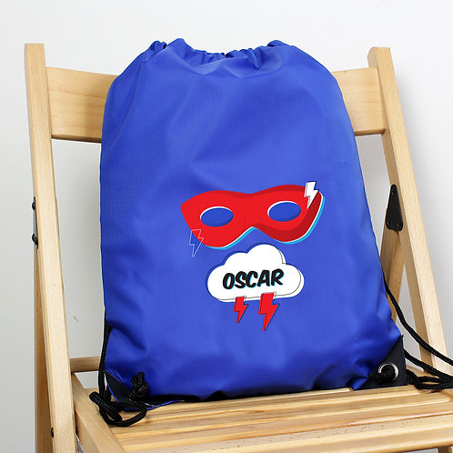 Personalised Superhero Blue Kit Bag (PMC)