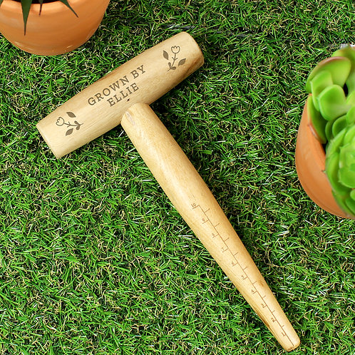 Personalised Floral Wooden Dibber (PMC)
