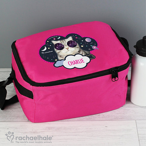 Personalised Rachael Hale Space Cat Pink Lunch Bag (PMC)