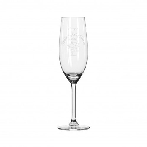 Etched Wedding Character Champagne Flute