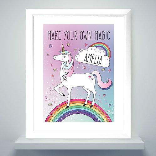Personalised Unicorn White Framed Print (PMC)