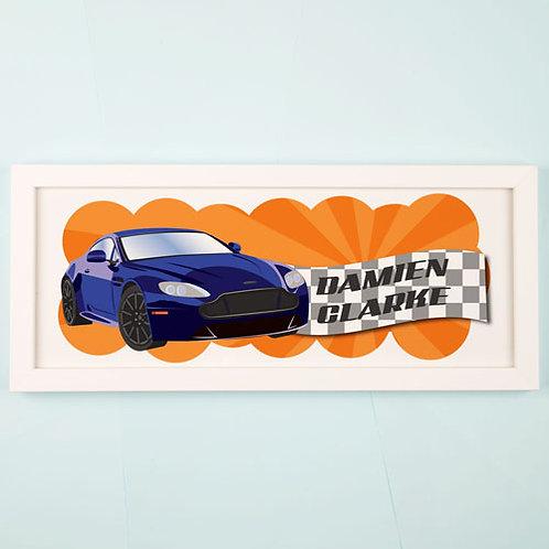 Racing Car Personalised Framed Print