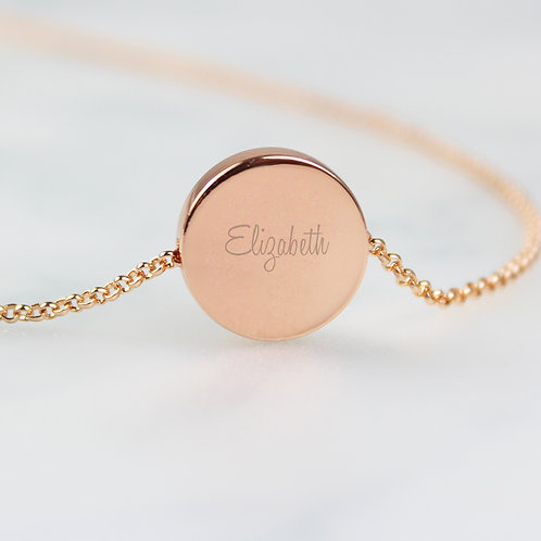 Personalised Any Name Rose Gold Tone Disc Necklace (PMC)