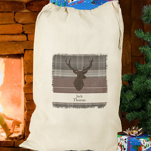 Personalised Highland Stag Cotton Sack (PMC)