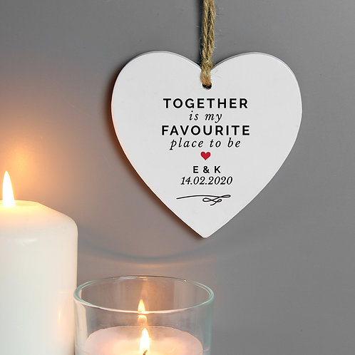 Personalised Together Is My Favorite Place Wooden Heart Decoration (PMC)