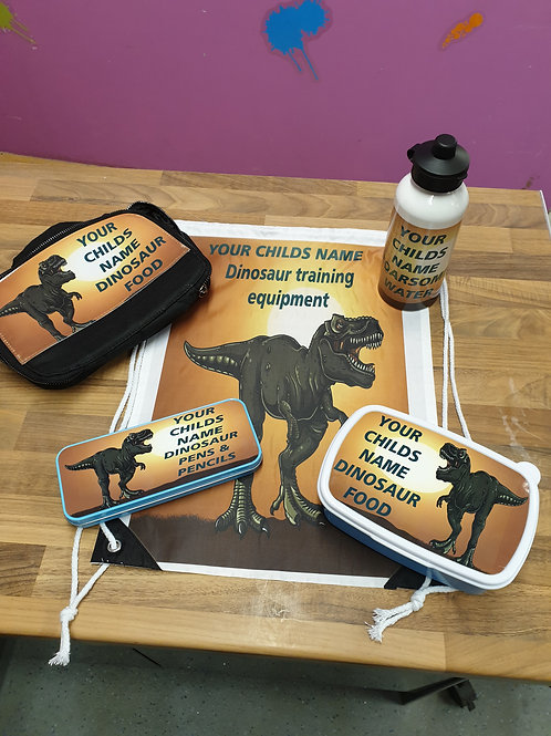 Back to school personalised dinosaur set