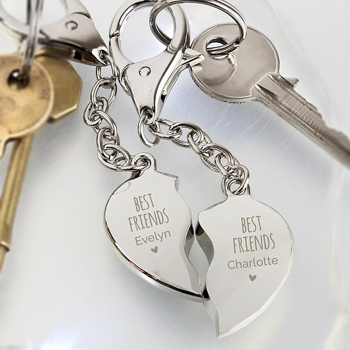 Personalised Best Friends Two Hearts Keyring (PMC)