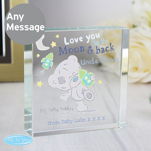 Personalised Tiny Tatty Teddy To the Moon & Back Large Crystal Token (PMC)