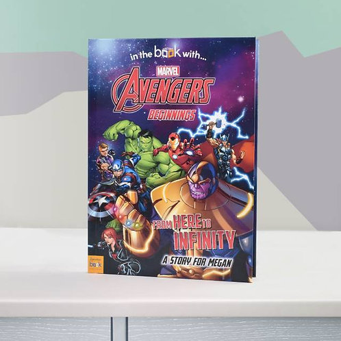 Avengers Beginnings from here to infinity Personalised Marvel Stroy book