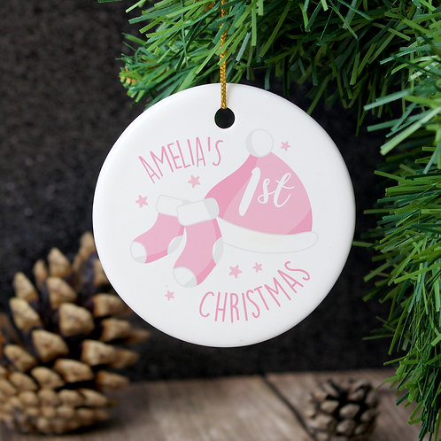 Personalised 1st Christmas Pink Round Ceramic Decoration (PMC)