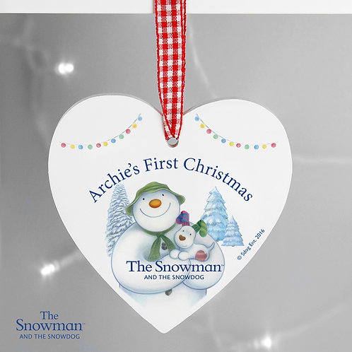 Personalised The Snowman and the Snowdog Wooden Heart Decoration (PMC)