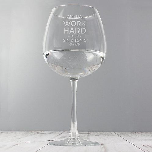 Personalised Work Hard Balloon Glass (PMC)