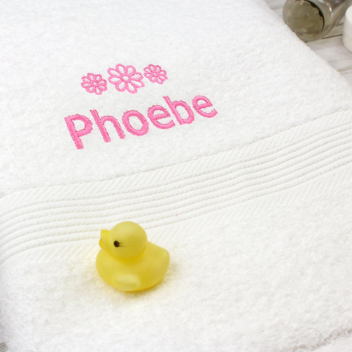 Personalised Pink Flowers White Bath Towel (PMC)