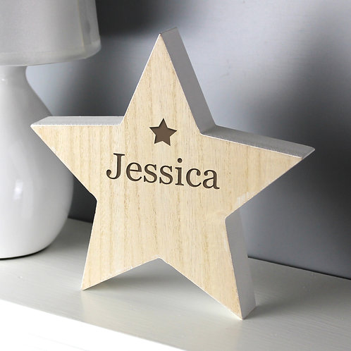 Personalised Any Name Rustic Wooden Star Decoration (PMC)