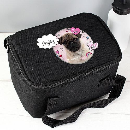 Personalised Rachael Hale Doodle Pug Black Lunch Bag (PMC)