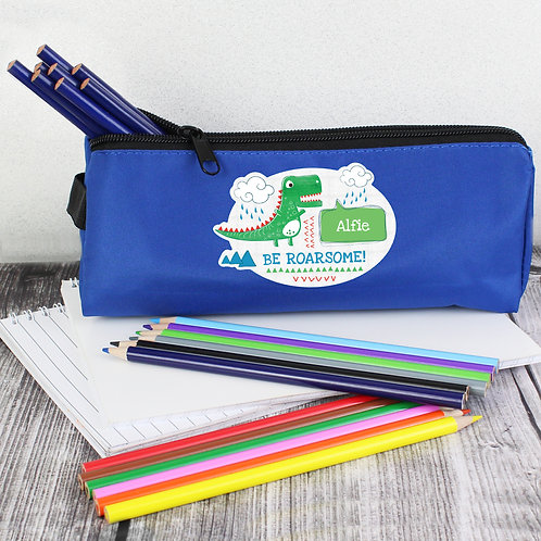 Personalised 'Be Roarsome' Dinosaur Blue Pencil Case (PMC)