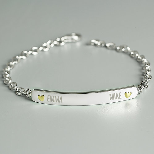 Personalised Two Names Sterling Silver and 9ct Gold Bar Bracelet (PMC)