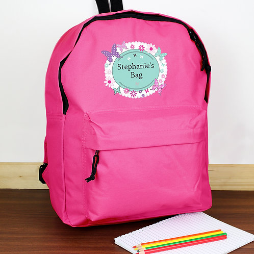 Personalised Butterfly Pink Backpack (PMC)