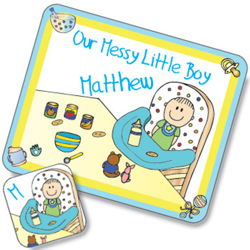 Messy Boy Design Placemat and Coaster Set (PTG)