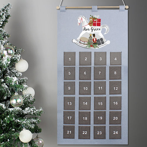 Personalised Rocking Horse Advent Calendar In Silver Grey (PMC)