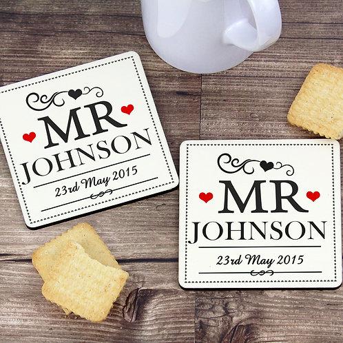 Personalised Mr & Mr Coaster Set (PMC)