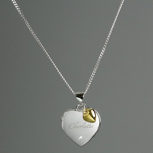 Sterling Silver Heart Locket Necklace with Diamond and 9ct Gold Charm (PMC)