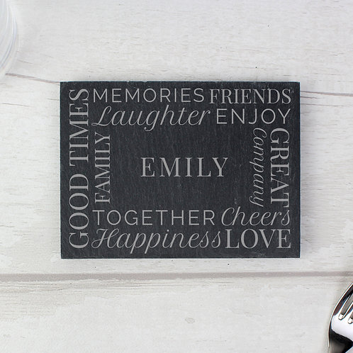 Personalised 'Together' Single Slate Coaster (PMC)