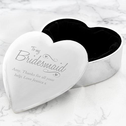 Personalised Bridesmaid Swirls & Hearts Trinket Box (PMC)