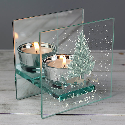 Personalised A Winter's Night Mirrored Glass Tea Light Holder (PMC)