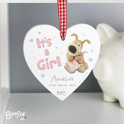 Personalised Boofle It's a Girl Wooden Heart Decoration (PMC)