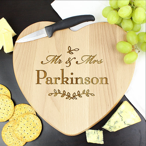 Personalised Mr and Mrs Leaf Heart Chopping Board (PMC)