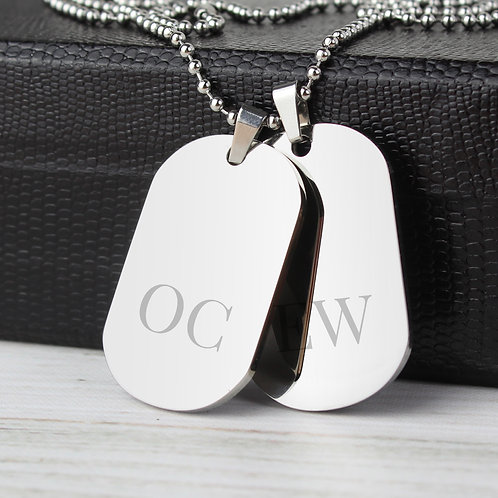 Personalised Big Initials Stainless Steel Double Dog Tag Necklace (PMC)