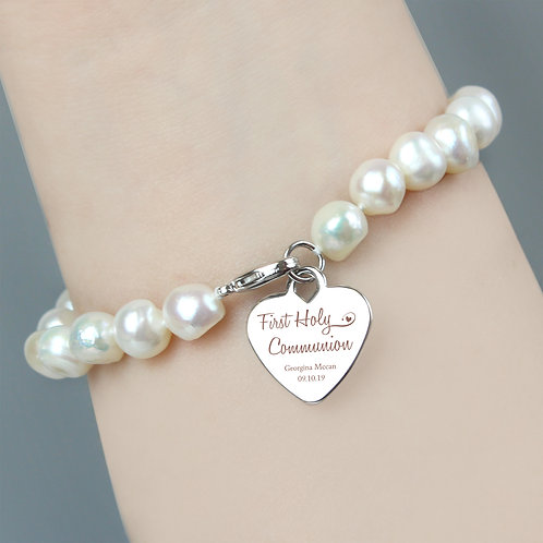 First Holy Communion Swirls & Hearts White Freshwater Pearl (PMC)