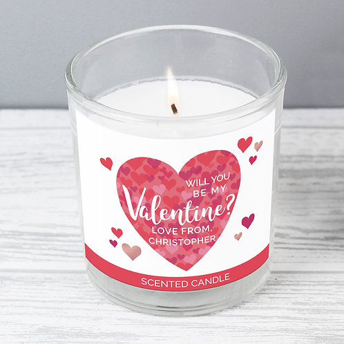 Personalised Valentine's Day Confetti Hearts Scented Jar Candle (PMC)