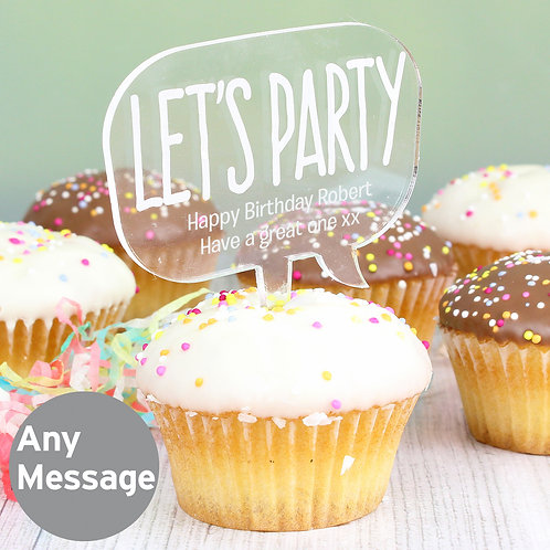 Personalised Acrylic Lets Party Cake Topper (PMC)