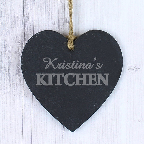 Personalised Kitchen Slate Heart Decoration (PMC)