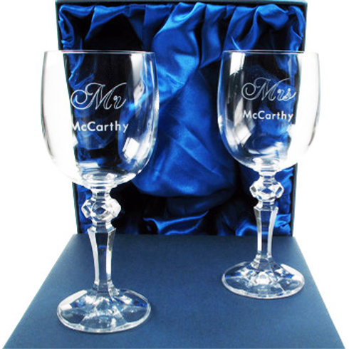 60th Anniversary Mr and Mrs Wine Glasses