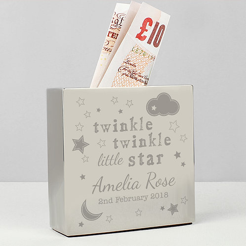 Personalised Twinkle Twinkle Square Money Box (PMC)