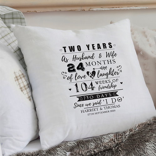 Personalised 2nd Anniversary Cushion Cover (PMC)