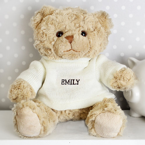 Personalised Name Only Teddy Bear  - Brown Embroidery (PMC)