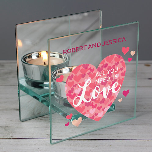 All You Need is Love' Confetti Hearts Tea Light Candle Holder (PMC)