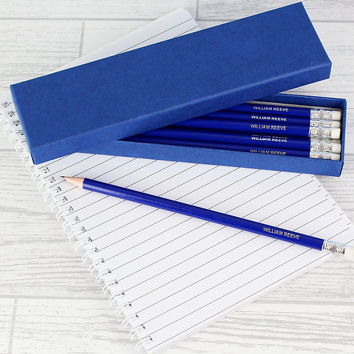 Personalised Box of 12 Blue HB Pencils (PMC)