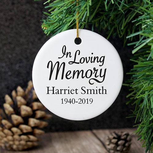Personalised In Loving Memory Round Ceramic Decoration (PMC)