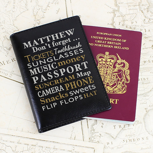 Personalised Dont Forget... Black Passport Holder (PMC)