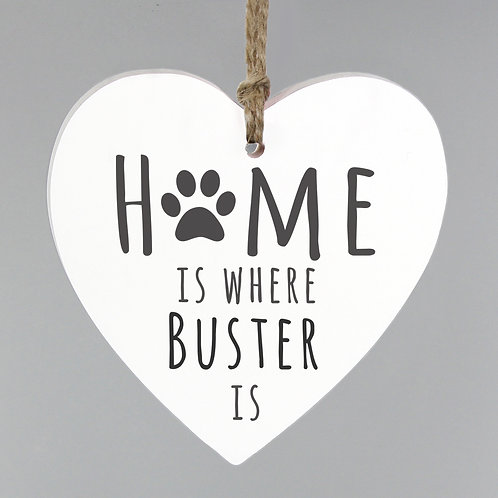 Personalised 'Home is Where' Pet Wooden Heart Decoration (PMC)