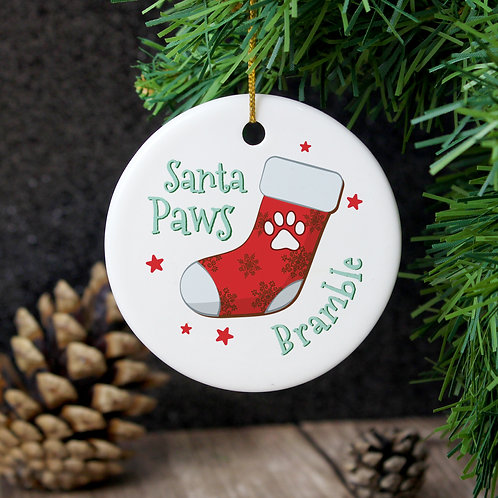 Personalised Santa Paws Round Ceramic Decoration (PMC)