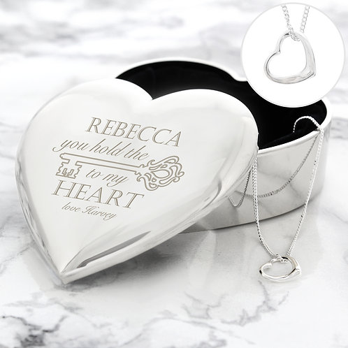 Personalised Key to My Heart Trinket Box & Necklace Set (PMC)